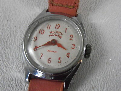 Vtg 1958 Mickey Mouse Watch Ingersoll US Time Pink Leather Band As Is