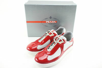 NIB $570 Prada Calature Uomo Red Patent Leather Low-Top Sneakers Size 9.5