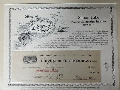 Simon Lake Hand Signed Check  Modern Submarine Inventor 1923