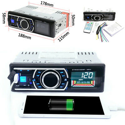 Car 1Din Bluetooth FM Radio Stereo Audio MP3 Player SD/USB Aux Input Anti-Shock