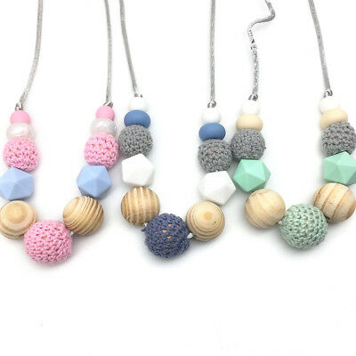 Silicone Teething Beads Necklace Crochet Wood Beads Baby Sensory Jewelry Teether