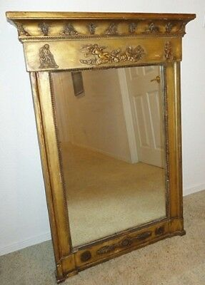 RARE LARGE ANTIQUE FRENCH WALL MIRROR ~ CARVED GILT GESSO and WOOD FRAME