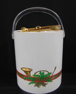 GEORGES BRIARD Christmas Greenery Vinyl & Lucite Ice Bucket w/Tongs USA