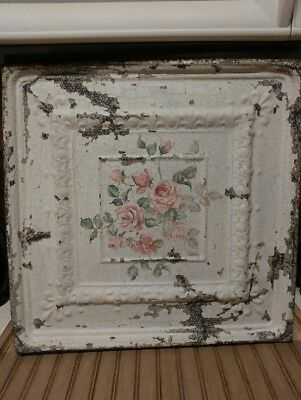 Signed Lori Gutierrez Shabby Chic Antique Ceiling Tile Hand Painted Pink Roses