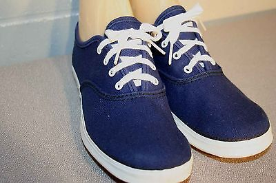 4.5 NOS GIRLS NAVY CANVAS Vtg 70s Round Toe SNEAKER TENNIS LaCROSSE GYM Shoe