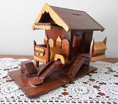 Vintage Handmade Wooden Swiss Chalet Money Box 2 Storey With Car Out Front
