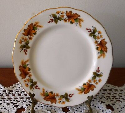 QUEEN ANNE BONE CHINA SIDE PLATE PATTERN 8219 AUTUMN LEAVES ENGLAND C1960s
