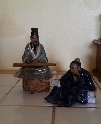 2 small chinese famous Shiwan figures