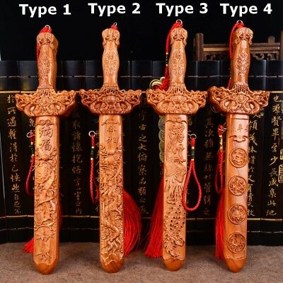 Peach Wood Carved Sword Blessing Gift Dragon Feng Shui Exorcise Evil Lucy Amulet