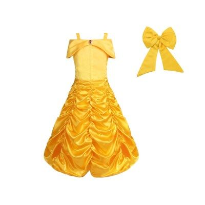 Kids Girls Beauty and the Beast Belle Cosplay Costume Princess Fancy Dress Up