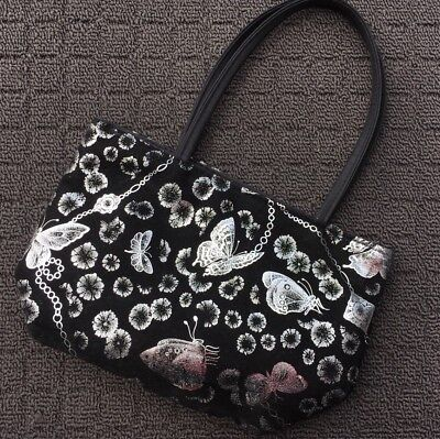 "BUTTERFLIES ""Black & Silver"" Women's Fashion Handbag Carry Bag Purse"