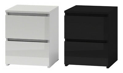 MODERN Bedside Table Cabinet Two Drawers BEST PRICE HIGH GLOSS SELECTION