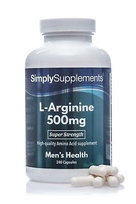 L-Arginine 500mg 240 Capsules Nitric Oxide | Helps To Retain & Build Muscle Mass