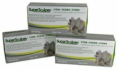 Super Sculpey Firm Gray Clay Pack of 3 - BEST VALUE IN EUROPE -Buy 2 Get 1 FREE