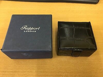 VINTAGE Rapport of London Small Black Leather Jewellery / Watch Box...