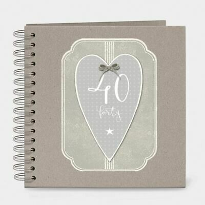 East of India Italic Heart Keepsake Memory Book 40 Birthday Forty
