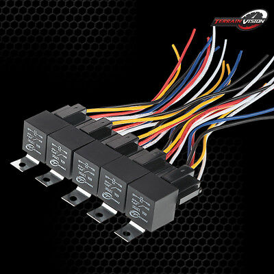 DC 12V CAR SPDT RELAY 5 Pin 5 WIRES w/ HARNESS SOCKET 30/40 Amp AUTOMOTIVE 5PCS