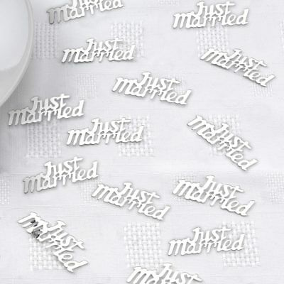 Silver Just Married  Wedding  Foiled Table Confetti invites decorations