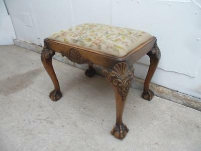 The Best Quality Ever Walnut 1930s Carved Ball&Claw Stool