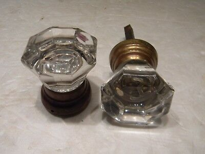 A Vintage Pair Of Glass Octagon Shaped Door Knobs