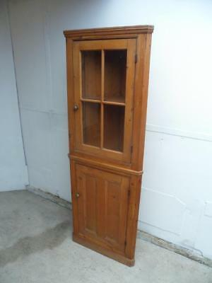 A Totally Original Antique/Old Pine Victorian Shallow Glazed Corner Cabinet
