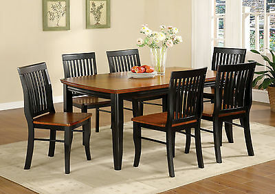 Antique Oak Black Finish Simple Mission Style 7pc Dining Set Dining Table Chairs