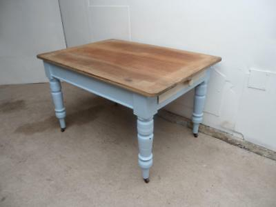 An Originally Painted Blue/White Antique/Old Pine Victorian4Seater Kitchen Table