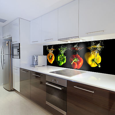 Wallpaper Fleece Photo Wall Paper for Kitchen Vegetable Colourful Peppers Splash