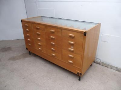 An Amazing Vintage 1970s Light Oak 20 Drawer Wolsey Haberdashery / Shop Fitting