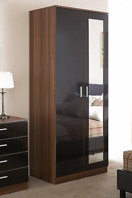 High Gloss Modern 2 Door Wardrobe with Mirror & Hanging Rail - Black/ Walnut