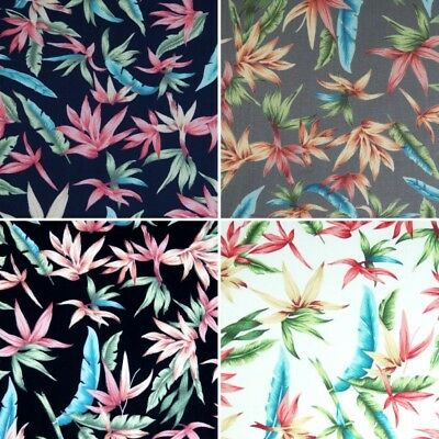 100% Cotton Poplin Fabric by Fabric Freedom Tropical Palm Floral Flowers 2