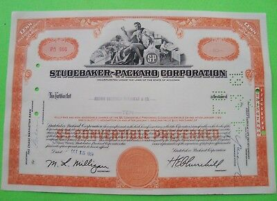 1950's STUDEBAKER PACKARD STOCK CERTIFICATE Orange ORIGINAL <100 Shares XLNT