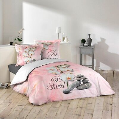 "Housse de couette + 2 taies 220x240cm ""SO SWEET ROSE"" 100% Coton 57 Fils"