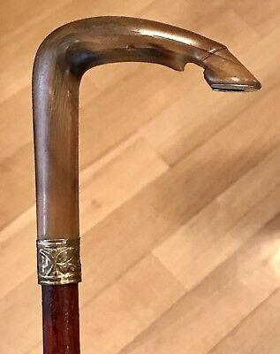 Vintage Antique 19C Horse Shoe Horn Handle Gold Filled Mount Walking Stick Cane