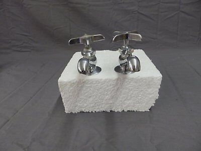Vtg Pr Chrome Brass Separate Hot Cold Deck Mount Sink Faucets Central  214-18P