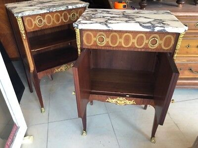 Pair of Antique Marble Top French Night Stands