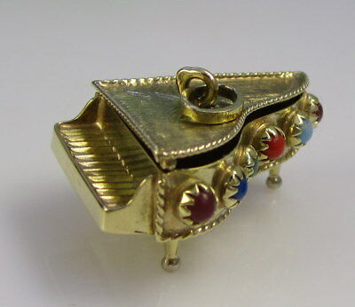 Vintage Ornate 14k Yellow Gold Movable Piano Coral Lapis Moonstone Pendant Charm