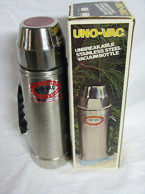 VTG Uno-Vac Unbreakable Stainless Steel Vacuum Bottle Box 270SS 1qt Used