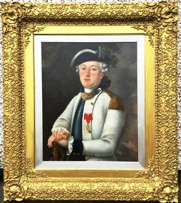 18th Century French Military Portrait Antique Oil Painting Naval Army Officer