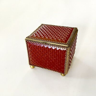 Antique Rare Early 1800s Gilt Bronze French Carved Amber Box