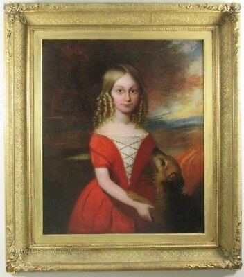 Large 18th Century Portrait Young Lady & Dog Antique Oil Painting Country House