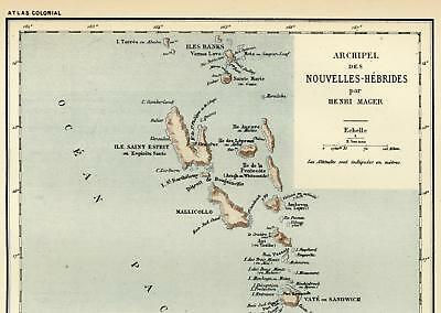 NEW HEBRIDES SOLOMON Islands Pacific Archipelago c 1890 Bayle French colony  map