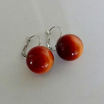 Vintage 1950s Moon Glow Plastic Lucite Tigers Eye Gum ball Earrings