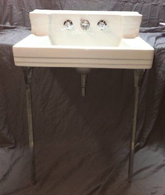 Large Vtg Ceramic White Porcelain Bath Wall Sink Chrome Legs Standard Old 22-18E