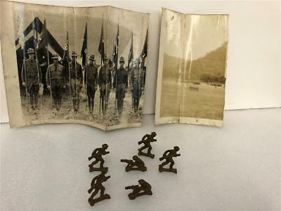 Vintage Antique WWI Army Soldiers Cast Iron Lot of 6 + military real photos