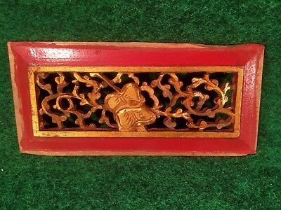Old Chinese Carved Wood Panel Opium Den Bed Architectural Window Cabinet Door I3
