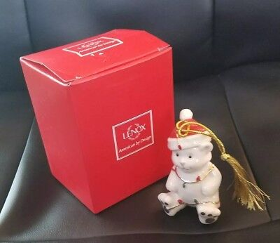 NEW Lenox Very Merry Holiday Porcelain Christmas Bear Ornament NEW NIB