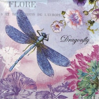 4x Paper Napkins for Decoupage Decopatch Craft Blue Dragonfly