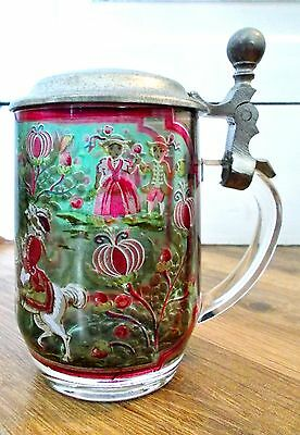 Vintage France Glass Lidded Pewter Metal Stein Design Of Horses & Children