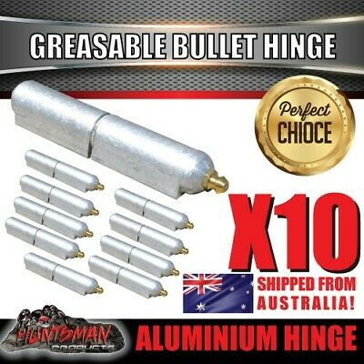 x10 80mm x 13mm Aluminium Greasable Bullet Hinges S/S Pin & Washer Tailgate Door